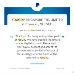 bukti pembayaran dari YouGov