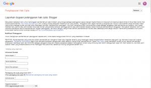 Cara melaporkan blog copas di Blogger