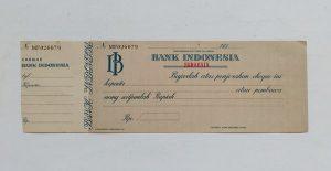 contoh cek bank Indonesia jadul