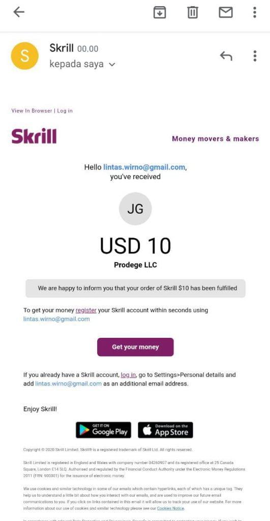 Pengalaman dan Cara Mencairkan Saldo $15 dari ySense Pakai Skrill